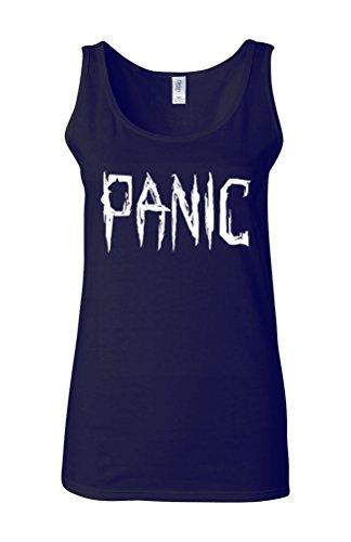 Panic Relax Cool Funny Novelty White Femme Women Tricot de Corps Tank Top Vest Bleu Foncé
