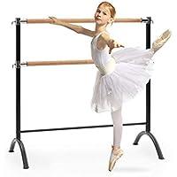 Klarfit Barre Anna • Double Barre de Danse Classique • Pose Libre • 110 x 113 cm/Ø 2 • Noir