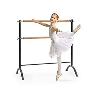Klarfit Barre Anna • Doppia Sbarra da Balletto • Indipendente • Libera Installazione • 110 x 113 cm • 2 x 38mm Ø • Tubi in Acciaio Verniciato a Polvere • Effetto Legno • Colore Nero