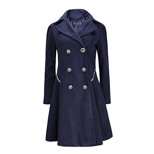 FIRSS Frauen Winter Double Breasted Trenchcoat warme Revers Stilvolle Lange Parka Mantel Taschen Outwear Jacke Einfarbig Slim Fit Wintermantel - Double Breasted Knit Blazer