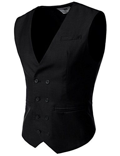Nearkin (NKNKVE603 Mens Double Breasted 8 Button Classic Formal Waistcoat Black UK L(Tag Size L)