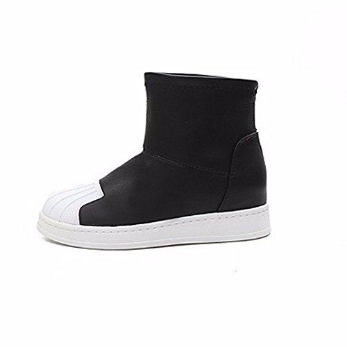 ZHUDJ Scarpe Donna Winter Snow Boots Stivali Tacco Piatto Rotondo Split Toe Giunto Per Nero Casual Black