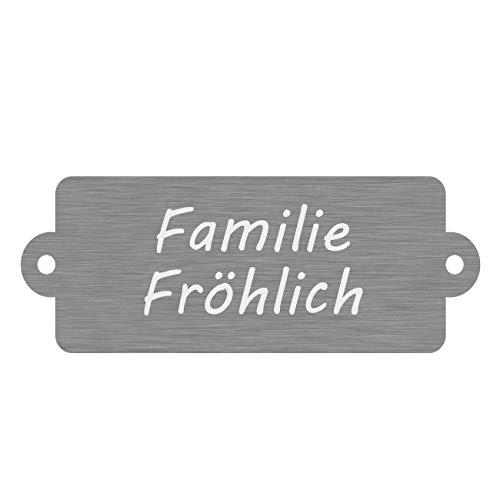 banjado Briefkasten Namensschild selbstklebend | Briefkastenschild mit Namen oder Hausnummer personalisierbar | Aufkleber wetterfest inklusive Beschriftung | Wunschtext Motiv Metall