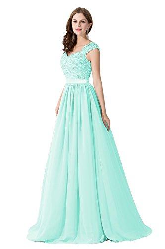 Damen Elegant Ämellos Chiffon Hochzeitskleid mit Spietze lang Mintgrün 44