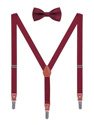 WANYING Unisex Hosenträger Fliege Set für Herren Damen 3 Starken Langen Clips Y-Form Elastische Hosenträger für Körpergröße 140-185cm - Bordeaux Rot (Hemd Mit Krawatte Damen)