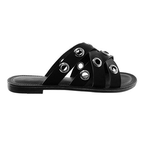 Angkorly Chaussure Mode Sandale Mule Slip-On Femme Perforée Multi-Bride Talon Bloc 1.5 CM Noir