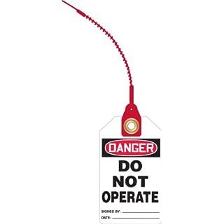 Accuform Signs TAK607 RP-Plastic Loop 'n Lock Tie Tags, Legend DANGER DO NOT OPERATE, 5-3/4