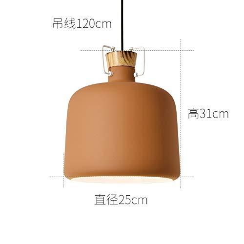 Lámpara nórdica de aluminio para restaurante, lámpara de restaurante, marrón creativo, diámetro de 25 cm con luz monocromática y luz blanca bombilla de 9 vatios