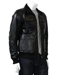 Hommes Bomber Veste en cuir - Sandro