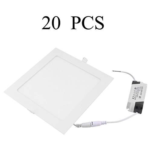Flat Down Light 15W Square vertiefte LED Flache Panels 20 PCS LED Panel Licht AC 85-265V Home Office Deckenleuchte (Square Einbauleuchte Light)