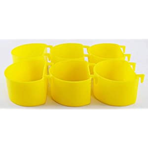 COLOURFUL AQUARIUM™ – Imported Birds Feeding Cup | Cage Hanging Type (Cup, Set of 6, 200ml)