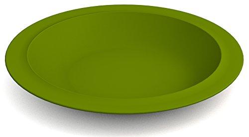 Ornamin Teller tief Ø 22 cm grün, Melamin | tiefer hochwertiger, stabiler Kunststoffteller | robustes Alltags-Geschirr für Kinder, Camping, Picknick, Gemeinschaftsverpflegung, Großküchen, Institutionen | Speiseteller, Suppenteller