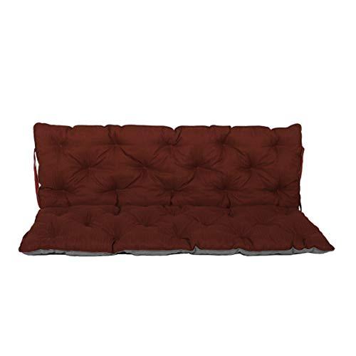 Chicreat Bankkissen Bankauflage mit Rückenteil, ca. 150x98x10 cm, Wendekissen rot/grau