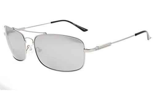 Eyekepper Bifokal Sonnenbrille mit biegsamer Brücke und Bügel Erinnerung Lesen Sonnenbrille Leicht Titan (Silber Spiegel, 2.00)