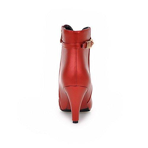 VogueZone009 Donna Scarpe A Punta Puro Bassa Altezza Tacco Alto Stivali con Catene Rosso