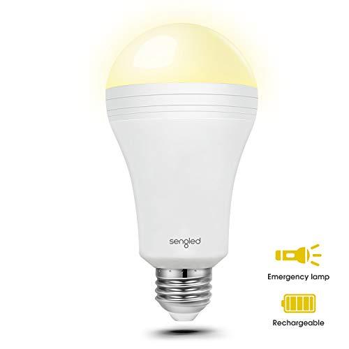 Sengled Everbright A60 LED-Notlicht Lampe, batteriebetrieben, E27, warmweiß 2700K, bis zu 3,5 Stunden Notbeleuchtung, ersetz 60W, 1 Stück