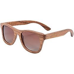 SHINU Hecho a Mano de Madera de Bambú de la Vendimia Gafas de Sol Gafas de Sol Polarizadas Retro con Casos-Z6016(pear, gradient brown)