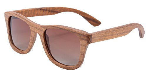 SHINU Woody Bambus Vayfarers Polyarized Flush Spiegel-Objektiv-Sonnenbrille vith Hour-Z6016 (pear gradient brown)
