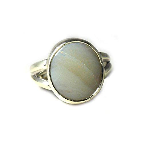 jewelryonclick 7Karat Opal Natur echtem Edelstein 92,5Sterling Silber Cut Design Verstellbarer Ring für Männer & Frauen (Echter Opal Ring Größe 7)