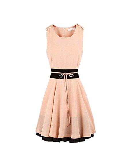 ... Zeagoo Damen Mini Kleid Elastische Top Rock clubwear Abendkleid Coctail  ärmellos Sommer Rosa ...