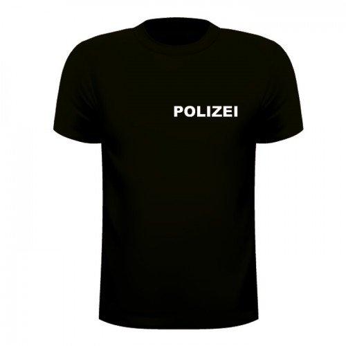 POLIZEI T-SHIRT Schwarz - Brust & Rücken bedruckt - Neu & OVP, T-Shirt Größe:S