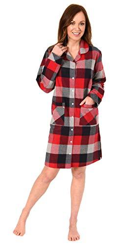 NORMANN WÄSCHEFABRIK Damen Flanell Nachthemd im edlen Karodesign zum durchknöpfen - auch in Übergrössen bis 60/62, Farbe:rot, Größe2:48/50