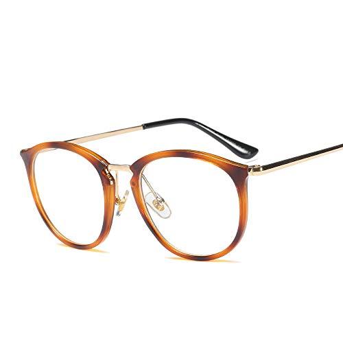 Junjiagao Runde Mode Metall brillengestell klare linse Brillen für Frauen. Ultra leicht (Farbe : Amber)