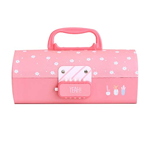 Glomixs Pen Box,Multi-Function Pencil 3 Layer Pen Box Large Capacity Pencil Stationery Box for Girl Password Lock,Material: Pressed Cardboard, Size: 210 * 90 * 70mm -