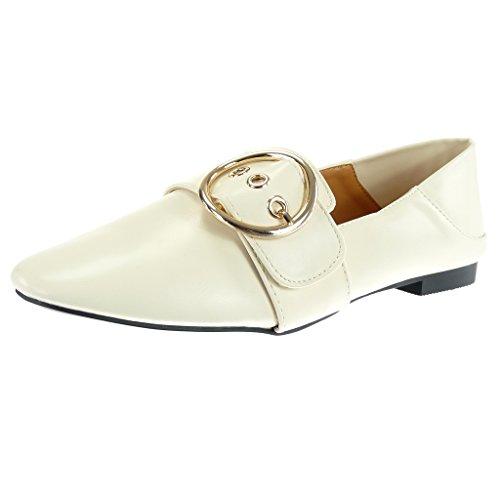 Angkorly - Chaussure Mode Mocassin slip-on Femme boucle doré Talon bloc 1 CM Beige