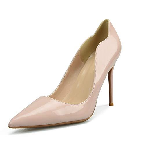 Patent Leder Knöchel Gurt (Lindarry D'orsay Pumps für Frauen Hohe Stiletto Heels Patent PU Leder Sexy Spitz Klassische Kleid Schuhe für Damen Mode (Color : Nude 8 cm Heel, Size : 41 EU))
