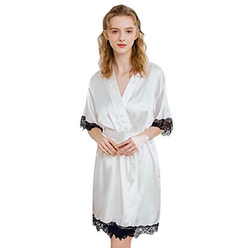 BIBOKAOKE Lange Robe der Frauen Sexy Spitzen-Patchwork Einteiler Pyjama Bademäntel für Damen Lange Ärmel Schlafanzüge Jumpsuit Bademantel Nachtwäsche