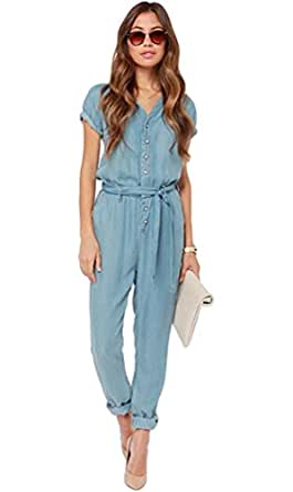 YiJee Denim Overall Manica Corta V Collo Tuta Intera Donna Blu 2XL