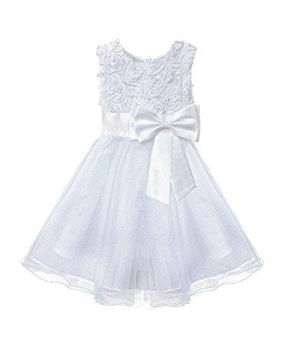 Live It Style It, abito da damigella d'onore, adatto anche per festa di battesimo, in pizzo, floreale, decorato con fiocco, per bambine  White 9-10 Anni