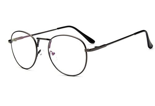 Sunbo Dekobrille Fein Metallrahmen Nerdbrille Dekogläser Klassisches Rund Rahmen Glasses