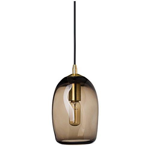 CASAMOTION Mini Pendelleuchte Mundgeblasen Glas Hängelampe, Moderne Hängeleuchte Pendellampe, Braun Glasschirm, Messing Gebürstet