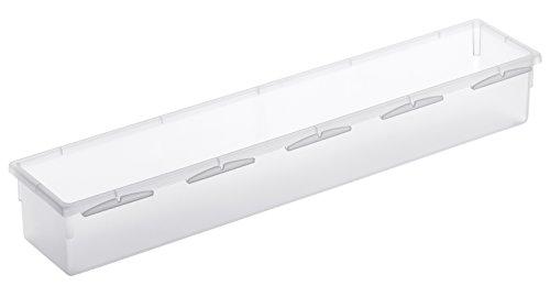 Rotho 1788300096 Schubladen Ordnungssystem aus Kunststoff, transparenter Schubladenorganizer, flexibel und modular einsetzbar, hergestellt in der Schweiz, Mass 38 x 8 cm