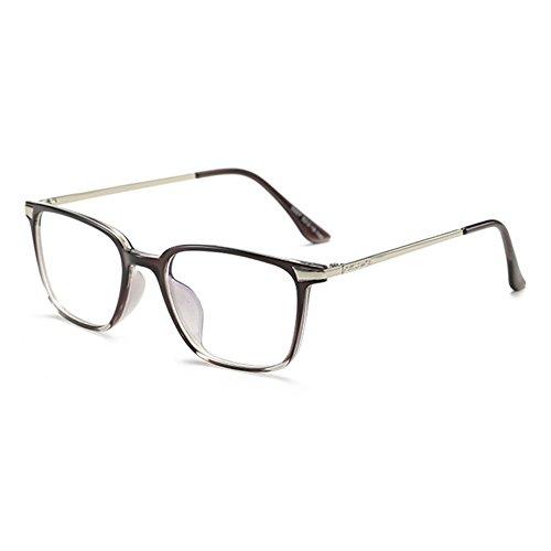 Brille Quadrat Retro mit Fensterglas - Damen Herren Brillenfassung Metall Frame Transparente Linsen Brille für Lesen/Arbeiten/Unterhaltung