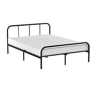 Coavas Doppelbett Festbettgestell mit 2 Kopfteilen Metallbettgestell Schwarz Geeignet für Erwachsene, Jugendliche, (141x190cm)