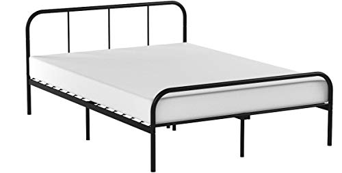 Coavas Double Bed Frame 4ft 6 Solid Bed Frame with 2 Headboard Metal Bed Frame Black fit 141 * 190 Matress For Adults, Teenagers