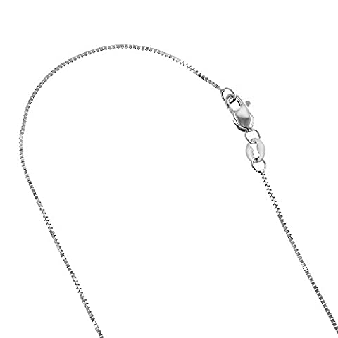 Solid 10K White Gold Box Chain 1mm Wide Necklace with Lobster Claw Clasp (30 inches long)