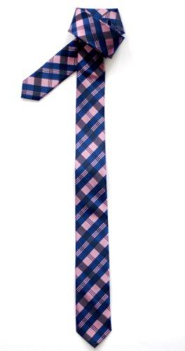 Retreez Herren Schmale Gewebte Krawatte Tartan Plaid Muster 5 cm - rosa und blau (Blaue Plaid-krawatte)