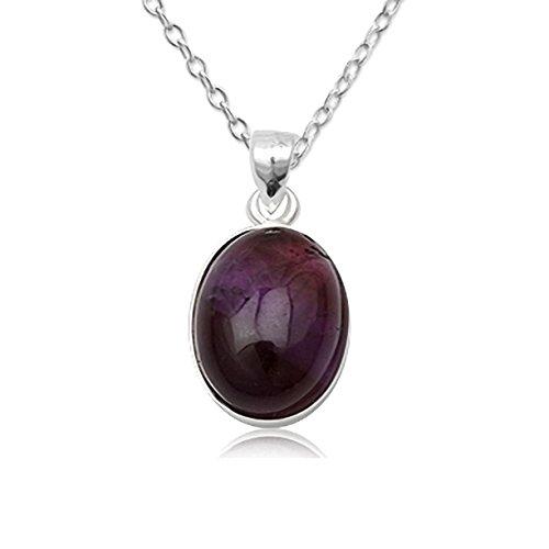 EYS JEWELRY® Damen-Halskette 60 cm Oval 28 x 17 mm Amethyst 925 Sterling Silber lila violett im Etui Damenkette Anhänger