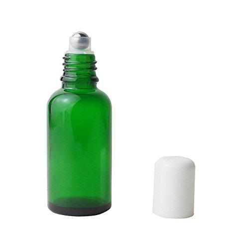 3pcs 30 ml gehobenen leer nachfüllbar grün Glas auf Rolle Flaschen ätherisches Öl Parfüm Flaschen mit Weiß Gap Rosenöl Flasche - Grünes Glas Parfüm-flasche