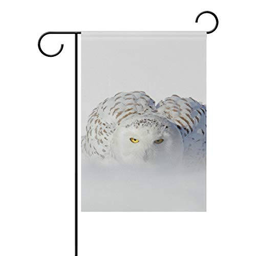 DEZIRO Schneeeule weiß selten Vogel Hofflagge Custom Gartenflagge doppelseitig, Polyester, 1, 28x40(in)