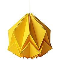 Suspension origami Design en papier jaune d'or taille S avec Câble