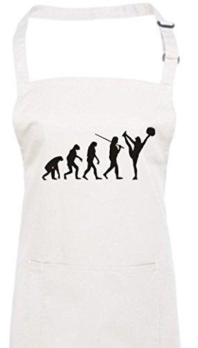 Krokodil Kochschürze Evolution Cheerleader Cheerleading Kostüm Fun Sport Tanz, Farbe weiss