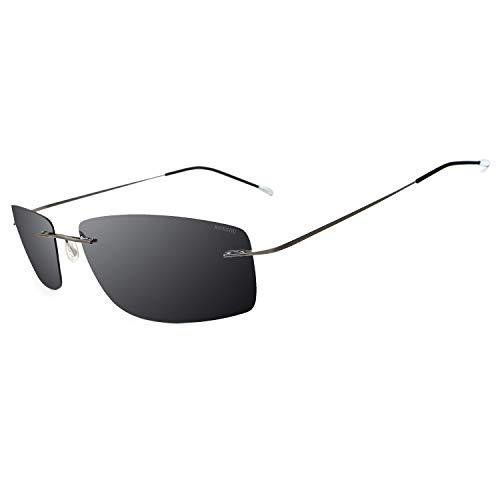RONSOU Ultraleichte Randlose Titanmode Polarisierte Sonnenbrille für den Außenbereich_Grauer Rahmen Graue Linse