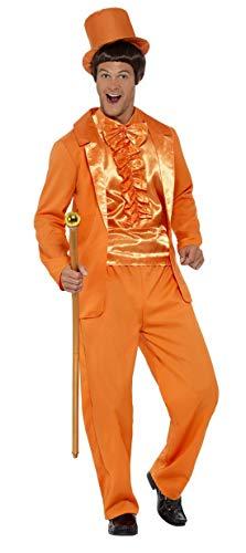 Luxuspiraten - Herren Männer 90er Jahre Tuxedo Anzug Kostüm mit Jacket, Hose, Mock Shirt und Hut, perfekt für Karneval, Fasching und Fastnacht, M, Orange (Dumm & Dümmer Kostüm)