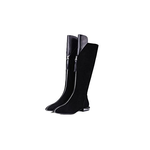 YYH Casual lungo caldo stivali al ginocchio tacco basso anteriore zip alla moda stivali scarpe Stovepipe in pelle scrub Bootie donna . black . 35