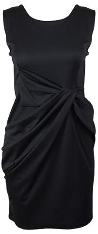 New Womens Sleeveless Drape Ruched Pleat Bow Ladies Stretch Ponte Plus Size Shift Dress Black Size